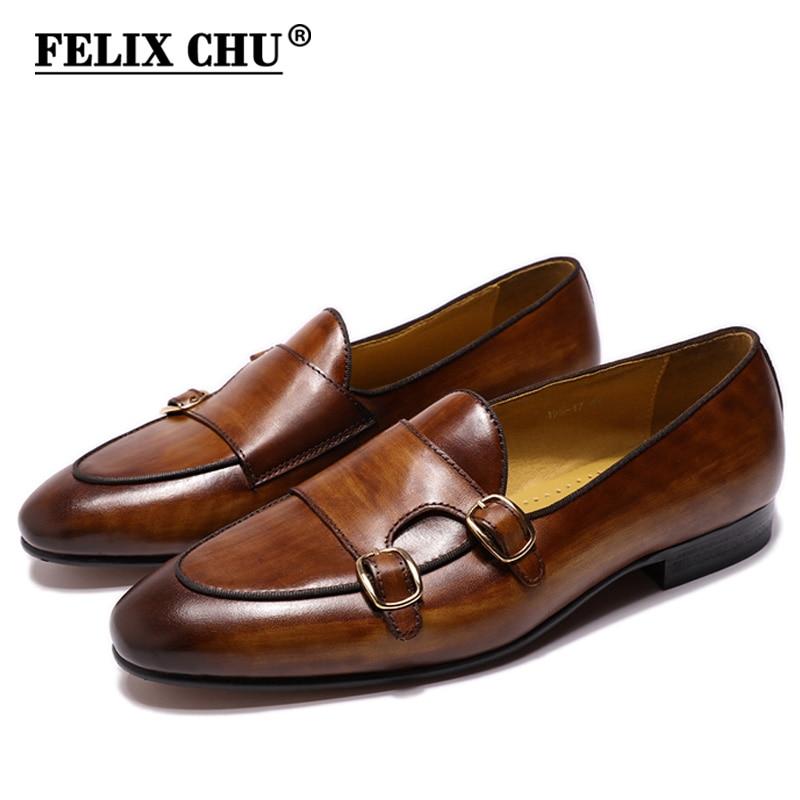 Мужские лоферы из натуральной кожи FELIX CHU, повседневные модельные туфли ручной работы с ремешками для свадьбы, вечеринки, черные, коричневые ...