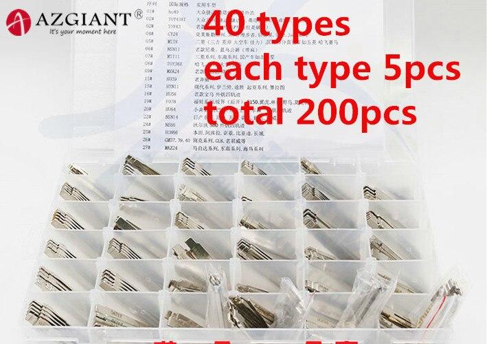 (40 tipos 200 uds) Escala de línea de contraste grabado, dientes de esquilado, clave de corte ciego de coche, dientes de cuchilla, herramienta de cerrajero de todas las marcas