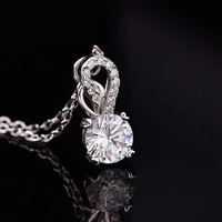 poetry of jew store s925 silver necklace round 1 00ct d vvs classic necklace send his girlfriend to send the wife gift