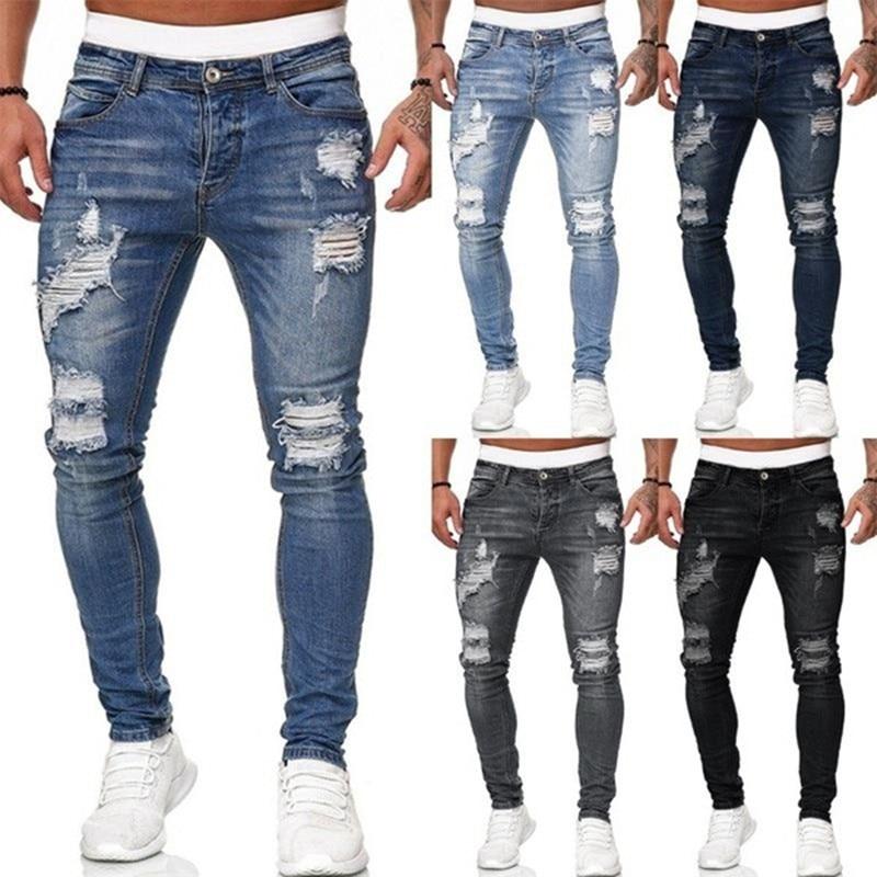 Мужские эластичные джинсы с дырками, белые облегающие джинсы, модные трендовые простые брюки, уличная одежда, мужские джинсы, лидер продаж ...