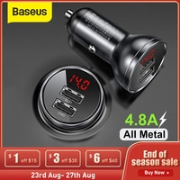 Автомобильное зарядное устройство Baseus с 2 USB-портами и светодиодным дисплеем, мобильный телефон Вт
