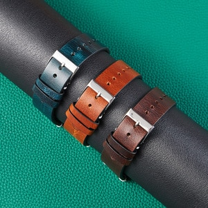 20 22mm oil wax leather Retro Watch Strap Band Universal Genuine Leather Belt Watchbands Smart watch Accessories Quick release