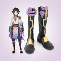 Парик для косплея Genshin Impact Xiao, обувь для косплея, смешанные короткие волосы темно-зеленого и синего цвета, Костюмы для ролевых игр на Хэллоуи...