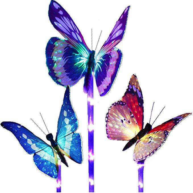 Luces insertadas de mariposa de fibra Solar lámpara de césped luces de jardín LED que cambian de Color Lámpara de mariposa de energía Solar