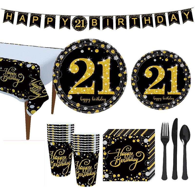 Dorado 21st decoración de fiesta de cumpleaños vajilla desechable plato y vaso de papel servilletas mantel globo hombres suministros de fiesta de cumpleaños
