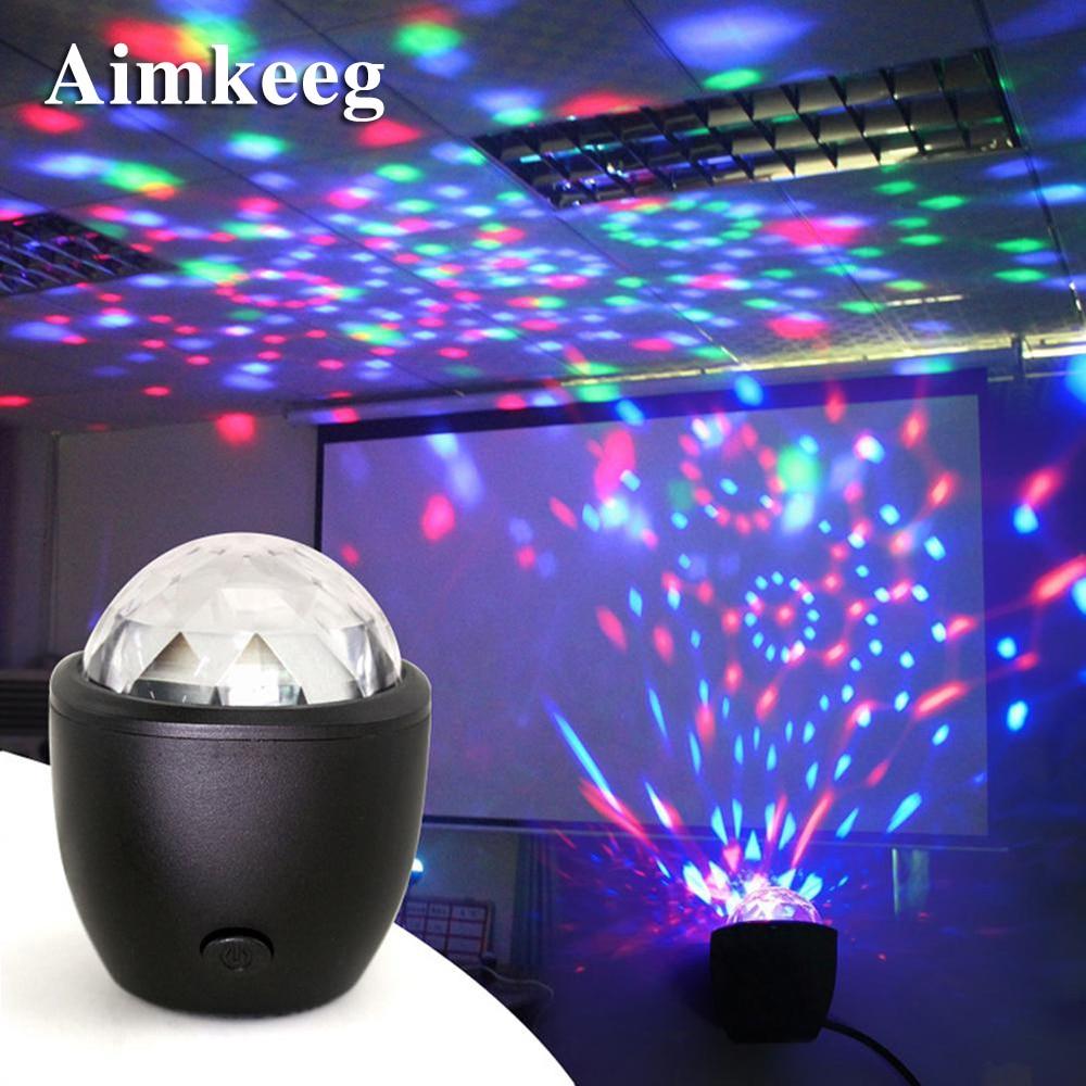 Aimkeeg mini usb led efeito de luz palco voz ativado cristal bola mágica projetor festa luzes para casa ktv bar festa concerto