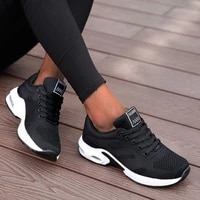 running shoes women breathable casual shoes outdoor light weight sports shoes casual walking platform ladies sneakers black