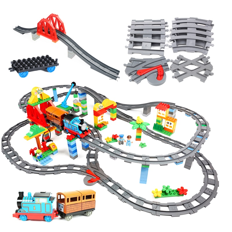 Big size Building Blocks Compatible Duploes Train Sets Railway Track Assemble Interactive Educationa