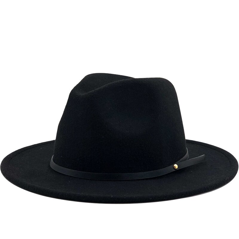 Simple Women Men Wool Vintage Gangster Felt Fedora Hat With Wide Brim Gentleman Elegant Lady Winter Autumn Jazz Caps vintage wool felt octagonal cloche hat