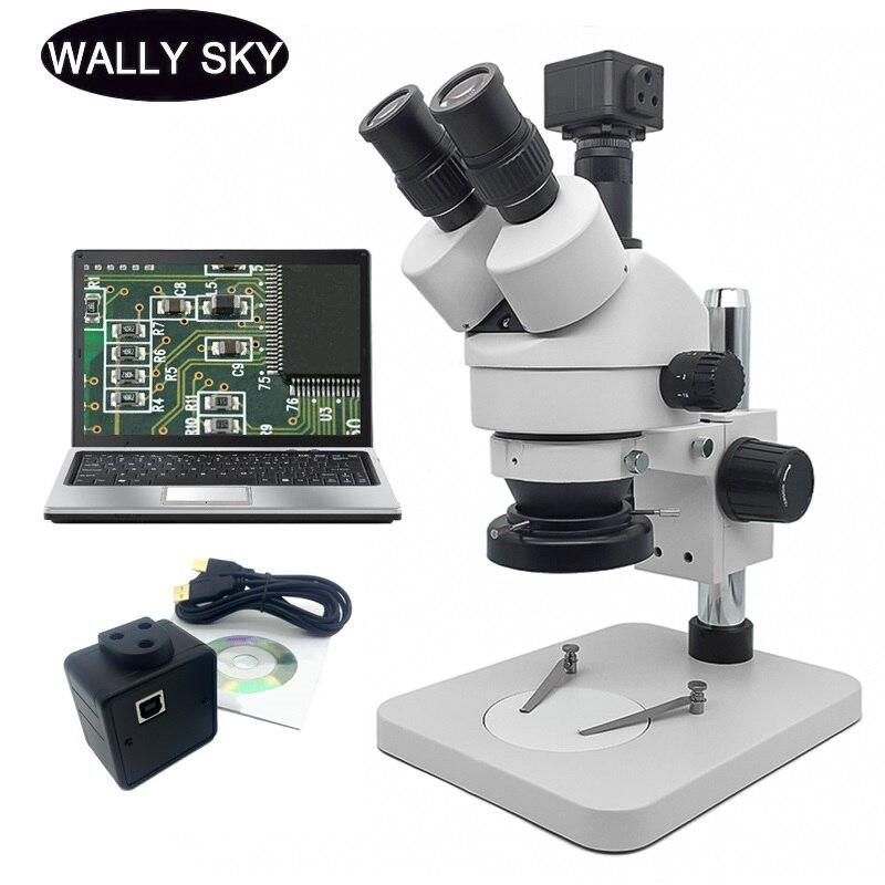 مجهر ستيريو ثلاثي العينيات الصناعية 7X-45X مجهر تكبير LED مصباح مصمم على شكل حلقة 5MP USB كاميرا رقمية العدسة PCB التفتيش
