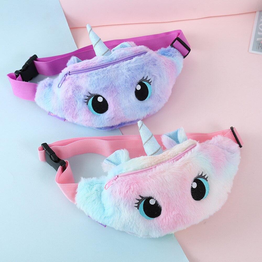 Riñonera de unicornio para niñas, riñonera de felpa para niños, bolsa de cinturón de mujer de dibujos animados, bolsa de viaje para teléfono, bolsa de pecho