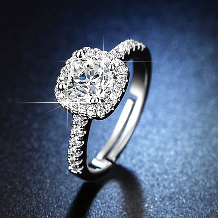 925 Sterling Silver Engagement Ring Diamond Rings for Women Resizable Rings Silver Ring Sterling Silver 925 Jewelry