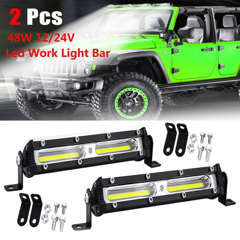 2 шт., вождение, туман, внедорожный светодиодный рабочий свет для автомобиля, 48 Вт, 12 в-24 в, универсальный внедорожник, грузовик, автомобиль, 18 ...