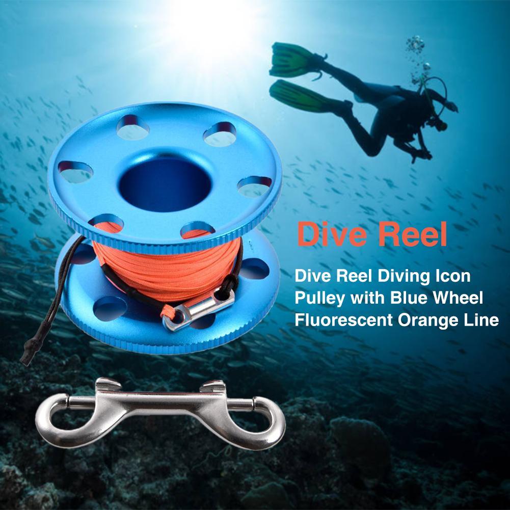 Carretel de Mergulho Polia com Roda Alta Qualidade Ícone Azul Linha Laranja Fluorescente Carretel Corda Mergulho Acessórios