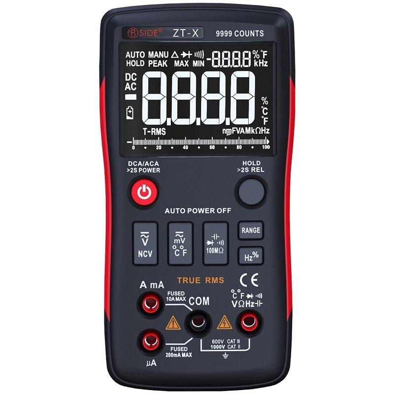Multímetro Digital JUNEJOUR-X 9999 cuenta pantalla Triple de 3 líneas multímetro medidor de prueba de temperatura voltímetro amperímetro RM409B