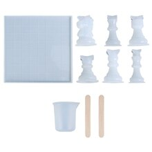 1 Set 3D Chess Pieces Crystal Epoxy Resin Mold Handmade Chessborad Casting Silicone Mould DIY Crafts Making Tool R9JE
