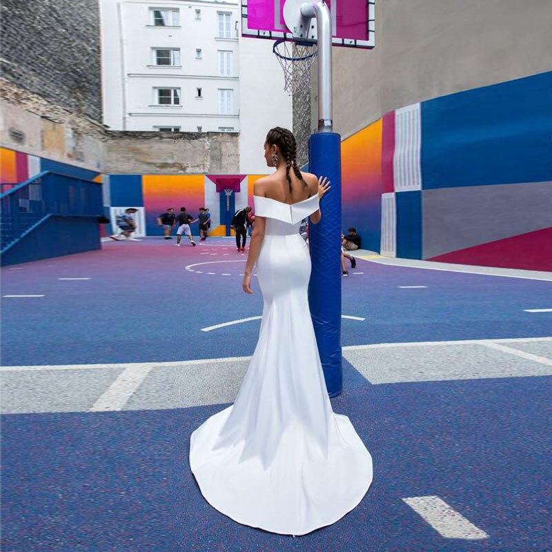 MoonlightShadow Simple Style Wedding Dresses Mermaid Boat Neck Short Sleeves Zipper Two Pieces Bridal Gown Свадебное платье