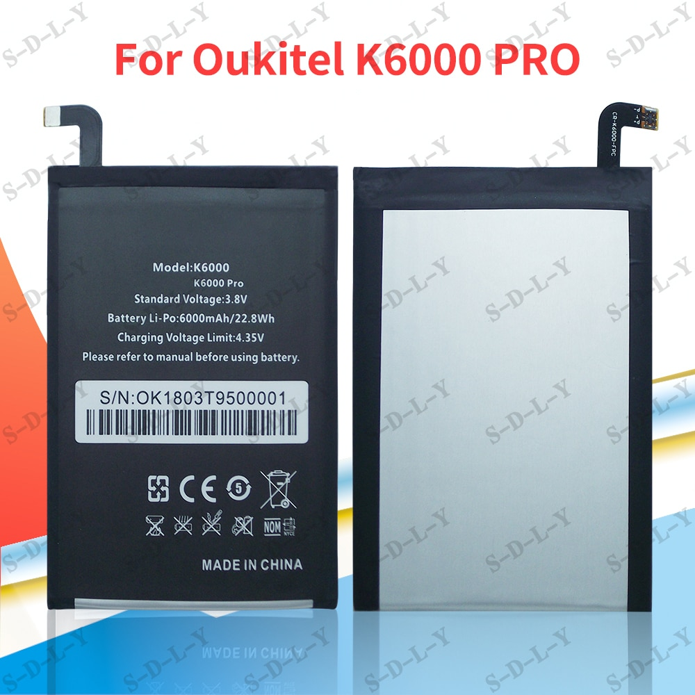 Oukitel K6000 Battery 6000mAh New Replacement accessory accumulators For Oukitel K6000 PRO Cell Phone enlarge
