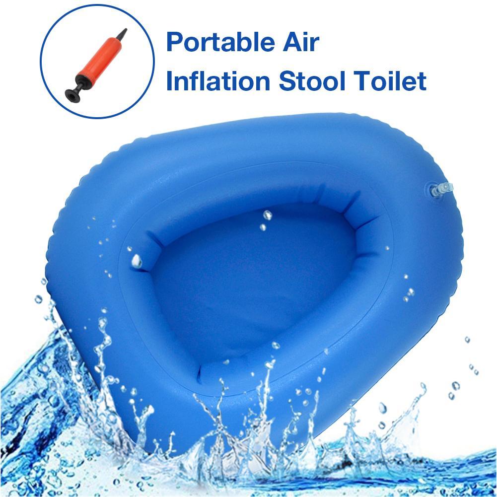 Anti-decubitus inflatable bedpan Bigger Washable Portable Air Inflation Blue Bed Pan Bedridden Elderly Inflatable Stool Toilet