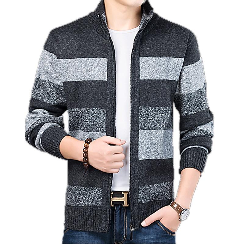 Новый мужской кардиган, модный приталенный свитер, мужской вязаный теплый толстый кардиган, пальто, мужская повседневная брендовая одежда, ...