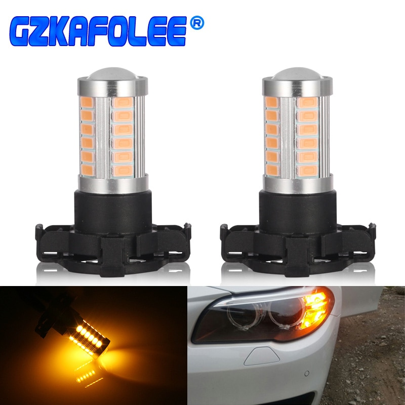 2 pces py24w PGU20-4 auto bulbo 3w led lâmpada do carro branco/amarelo para sinal de volta/canto/indicador de pisca/sidelight/drl