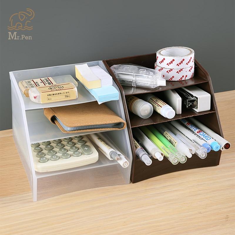 Caja de almacenamiento de 3 cuadrículas de escritorio para el colegio y la Oficina, caja de plástico transparente, organizador de lápices de escritorio, caja de soporte para brochas de maquillaje