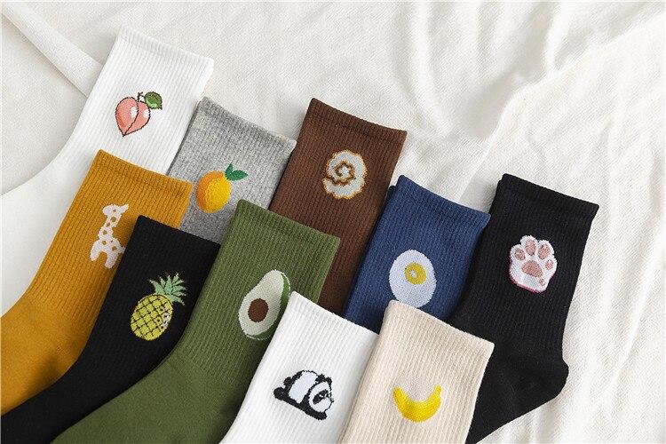 Calcetines divertidos japoneses de algodón a rayas para chicas de secundaria, calcetines coloridos para mujeres, medias Harajuku de diseño amarillo Retro 2019