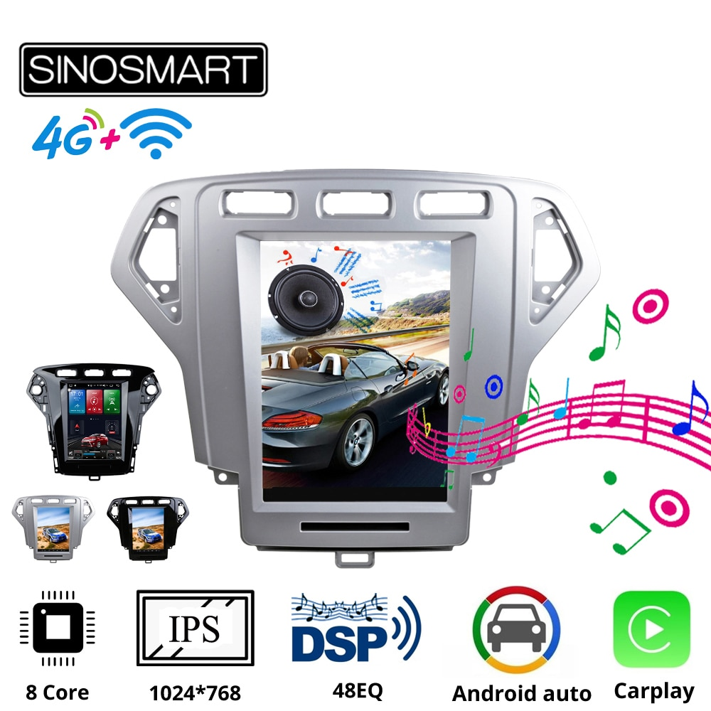 AliExpress - Sinosmart Andriod Tesla Style Car GPS Multimedia Radio Navigation Player for Ford Mondeo mk4 2007-2014 8 Core Voice Control