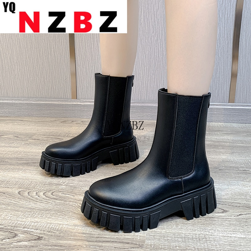 2021 New Ankle Boots for Women Thick Bottom Round Toe Genuine Boots Black White All-match Botas Plat