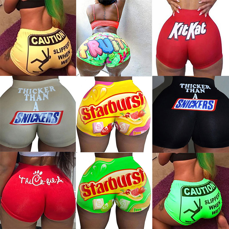 Summer Vogue Women Breathable Booty Shorts Bodycon Mini Gushers Snack Booty Shorts Sexy Club Fitness Candy Shorts Skinny Shorts