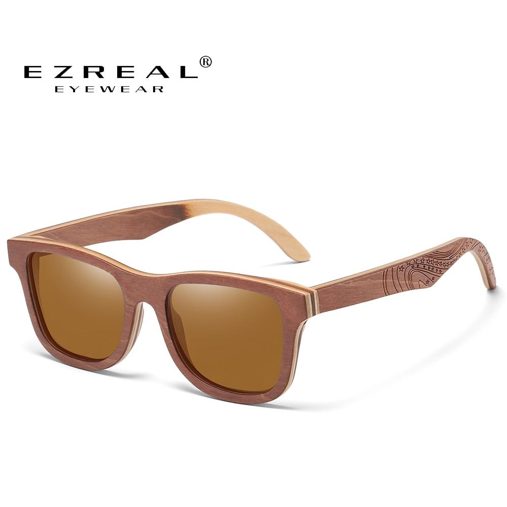 EZREAL الاستقطاب لوح التزلج نظارة شمس خشبية الرجال UV400 مصمم نظارات شمسية نظارات Gafas دي سول دي لوس Hombres Polarizados