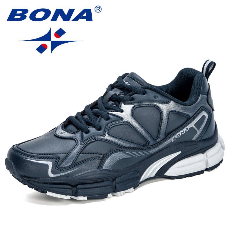 Купить с кэшбэком BONA 2020 New Designers Action Leather Running Shoes Men Outdoor Jogging Sport Shoes Men Krasovki Walking Footwear Sneakers Man