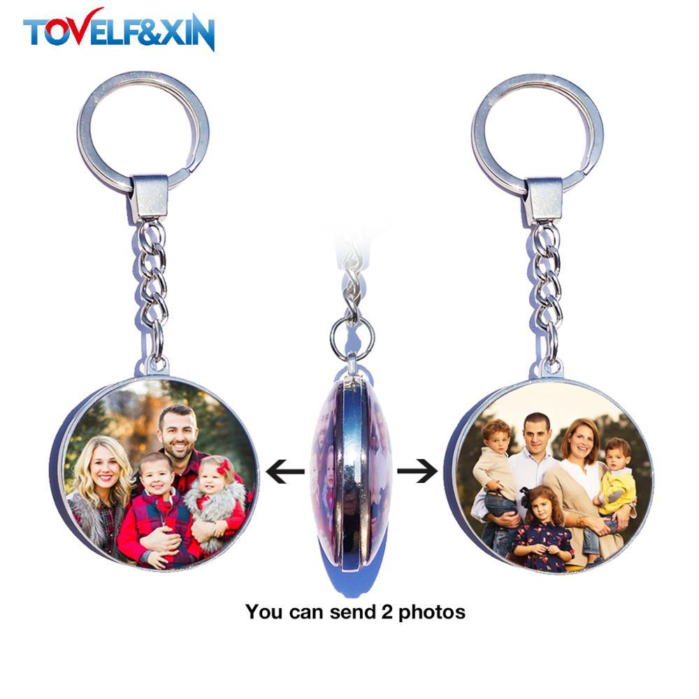 Брелок для ключей «сделай сам», двухсторонний, по фото, на заказ, персонализированные брелоки, стеклянный кабошон, для всей семьи, для младен...
