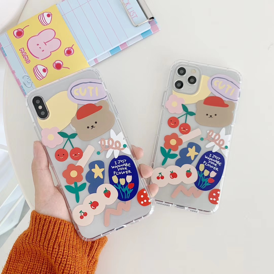INS Корея милый цветок вишня смайлик вкус медведь чехол для телефона для iPhone 11 pro MAX Xs MAX Xr X 7 8 plus Мягкий ТПУ задняя крышка