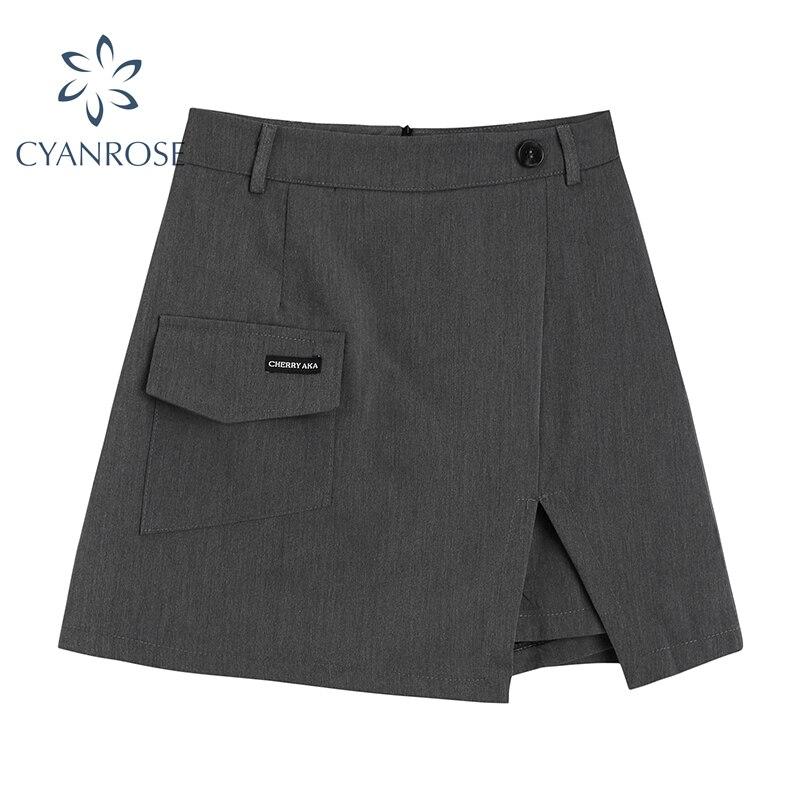 Streetwear Pockets A Line Skirts Women 2021 Summer New Korean Style Split High Waist Mini Skirt Hara