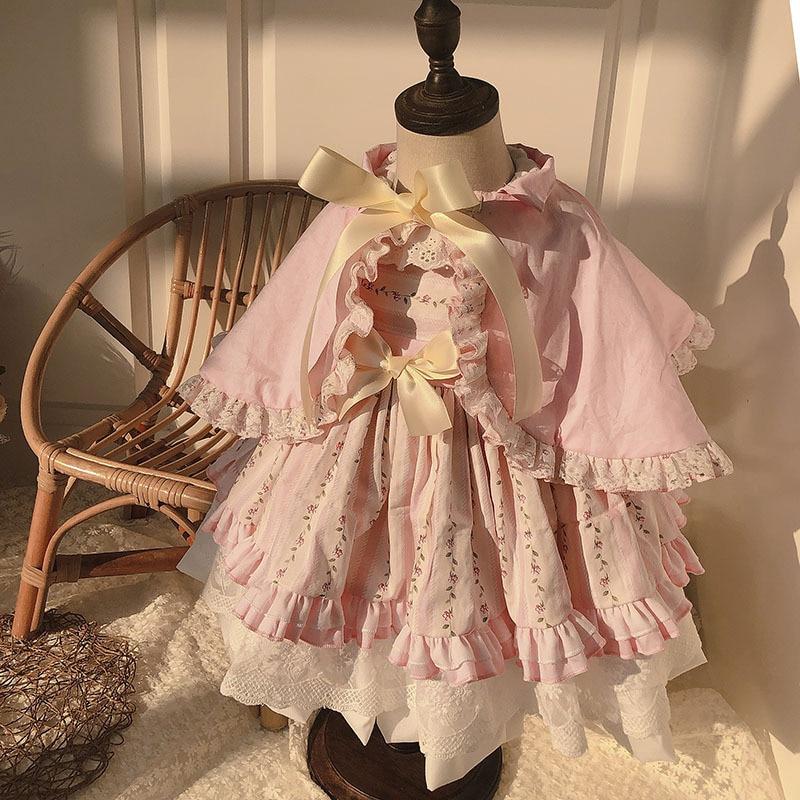 2 قطعة طفلة الصيف الوردي الأزهار خمر الإسبانية لوليتا الأميرة الكرة ثوب لفتاة عيد ميلاد عيد الفصح حزب السببية اللباس