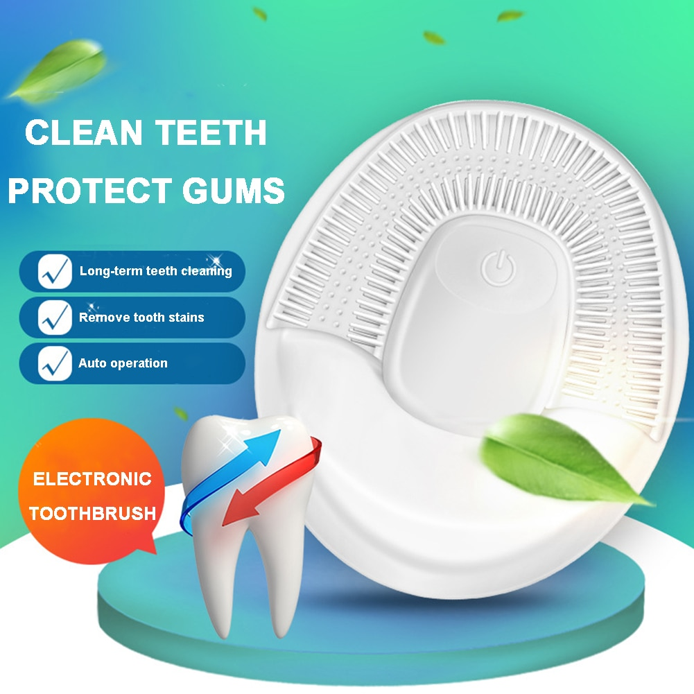 Upgraded 360 Degrees Intelligent Automatic Sonic Electric Toothbrush USB Rechargeable Ultrasonic U Shape 4 Modes Timer enlarge
