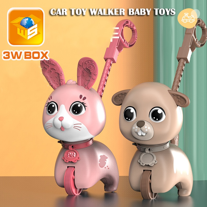 Trolley walker toy Educational Toddler Music Animals Duck Bear Hand Push Single Pole Drag Light Car baby toys rattles for kids недорого