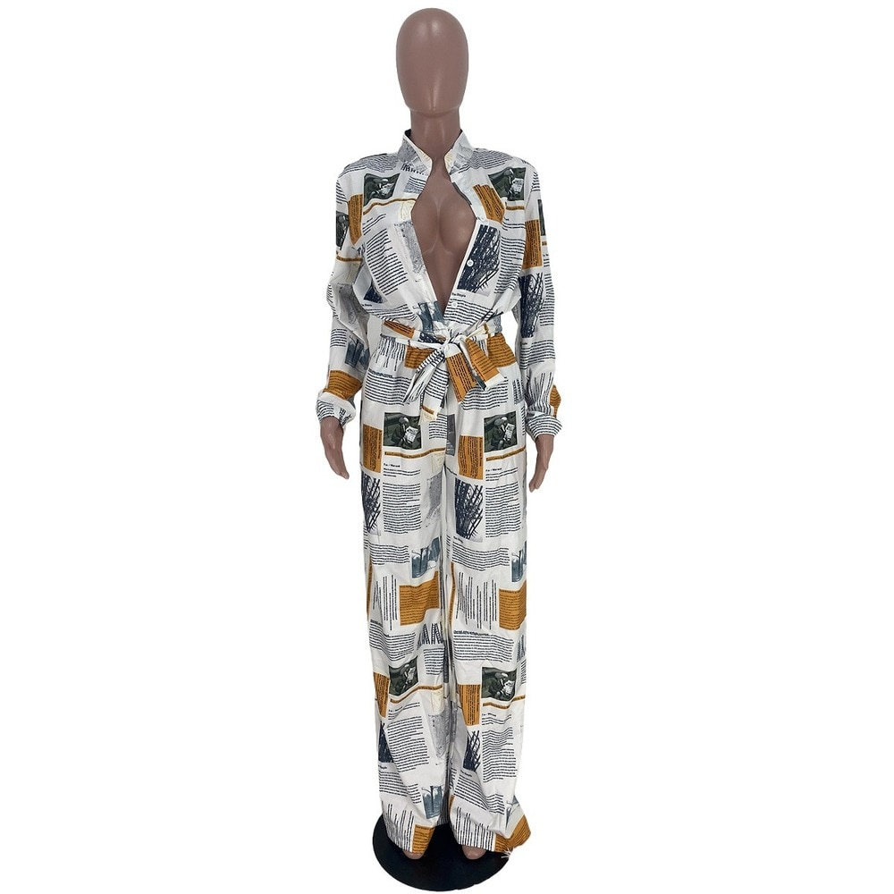 Bulk Lots Wholesale Items Letter Print Rompers Womens Jumpsuit Fashion Single Breasted Long Sleeve Full Length Bodysuit Overalls enlarge