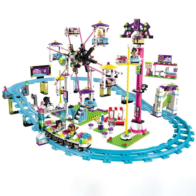 Amusement Park Roller Coaster Girl friends creator building block compatible 41130 children construction toys figures