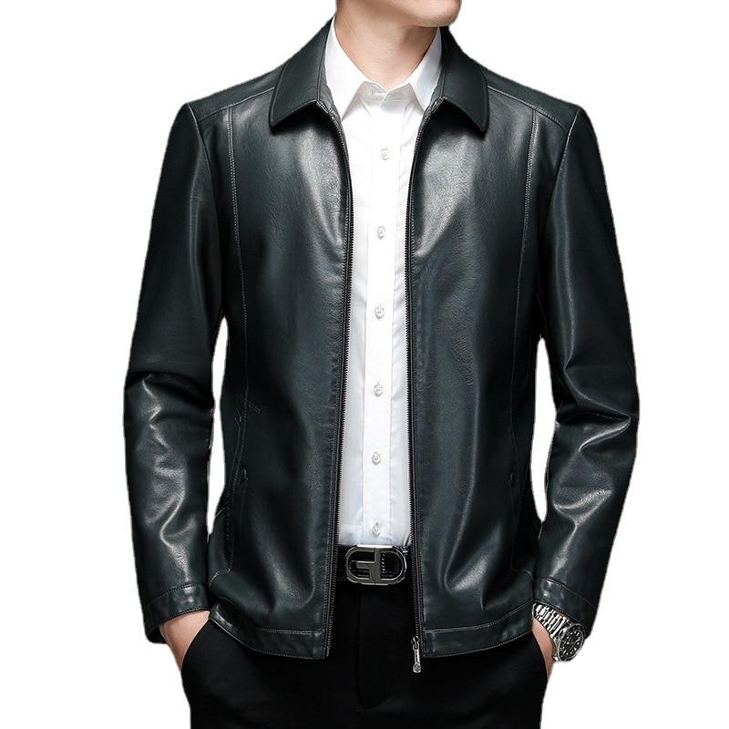2152 M-4XL الخريف 2021 الملابس حجم كبير الرجال تقليم معطف قصير التلبيب المسنين الرجال سترة جلدية