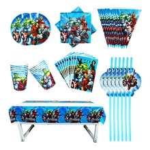 40/80/81/100PCS The Avengers Baby Shower Party Decoration Birthday Sets Banner Straw bag Cup Plate T