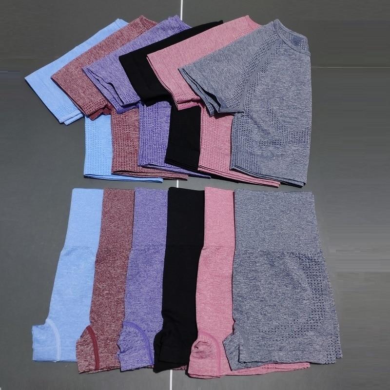 Conjunto De Yoga Sin Costuras De Cintura Alta Para Mujer, Ropa De...
