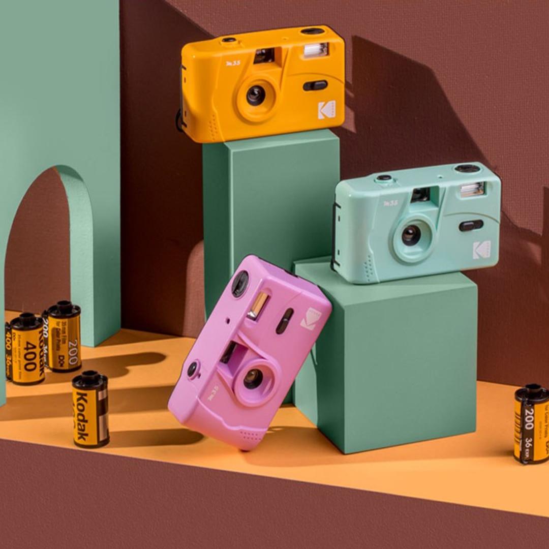 KODAK Vintage Retro M35 / M38 35mm Reusable Film Camera Sky Blue/ Yellow / Mint Green / Pink / Red / Grapefruit / Lavender Color enlarge