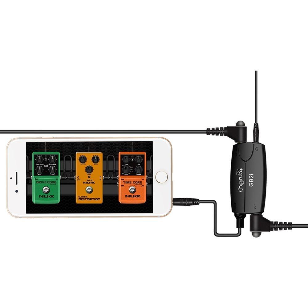 Sistema de interfaz de conector de guitarra Cherub GB2i, amplificador de efectos de guitarra, convertidor de Pedal, adaptador de Cable, conector para teléfono