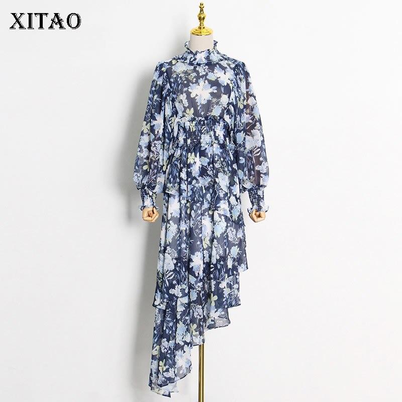 فستان شيفون فرنسي من XITAO موضة خريف 2021 جديد غير منتظم بطباعة فانوس كم متوسط الطول مرقع بطيات نعمة للنساء WMD3874