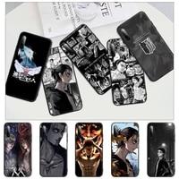attack on titan eren jaeger black rubber cell phone case cover for xiaomi mi 6 a2 8 10 lite 9 se 9t pro a1 note 10 lite