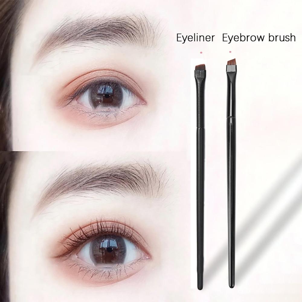 1Pc Professional Oblique Angle Eyeliner Eyebrow Brush Synthetic Hair Flat Eyeliner Eyebrow Blending