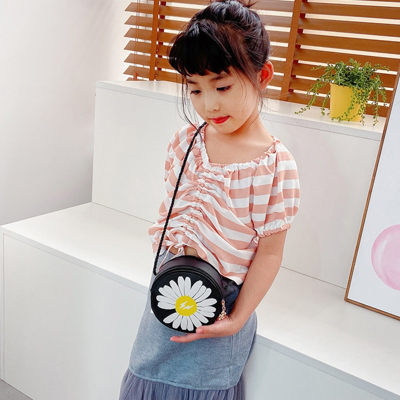 Daisy Round Children's Crossbody Bag Girl's Fashion Shoulder Bags Flowers Child Purse Kids Messenger