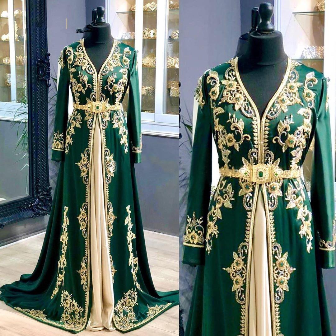 Elegant Green Prom Dress Crystal Beading Satin A-Line Muslim Evening Dresses 2020 V-Neck Embroidery Dubai Party Dress vestidos